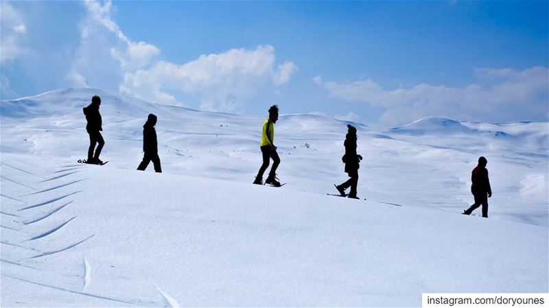 Snowshoeing through  wonderland 💙❄💙❄ fujifilm  fujifilmxseries ... (Sannin, Mont-Liban, Lebanon)