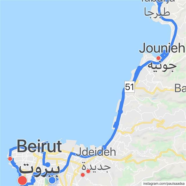 What I have done so far on  googlemaps in  lebanon  streetview  jounieh to... (Beirut, Lebanon)