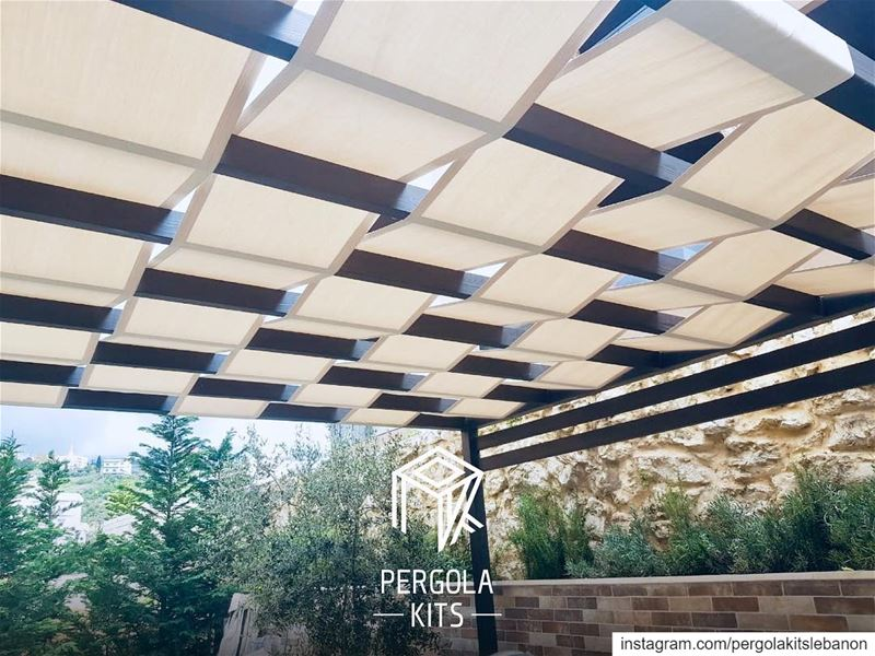 Modern Steel Pergola, Wood Textured, Black Color, with Fabric Roofing! ... (Fatqa, Mont-Liban, Lebanon)