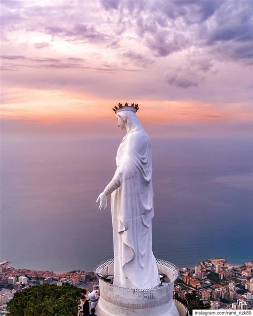 May is The month of Mary💙🙏... harissa  jounieh  lebanon  dji ... (Our Lady of Lebanon)
