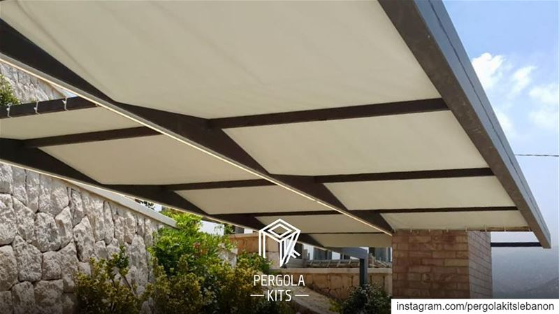 Keep it Simple➖Attached Modern Pergola with Fabric Roofing! ...