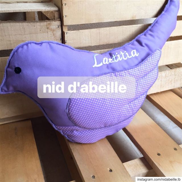 Check out the bird cushion 💜Write it on fabric by nid d'abeille  purple ...