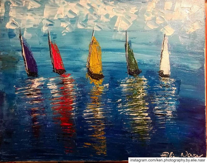 ...Sailing - إبحار my_painting  sailing  sea  boat  boats  painting ... (Fanar, Mont-Liban, Lebanon)