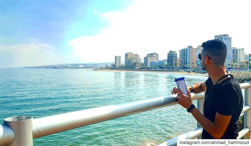 Starting the day with  coffee by the  beach... lebanon  saida ... (Sidon, Lebanon)