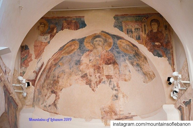 Frescos at the Church of Mar Sarkis and Bakhos , at Deir Kaftoun dating... (دير سيدة كفتون)
