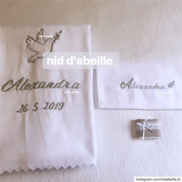 Blessed 🌿 Write it on fabric by nid d'abeille  christening  setup  towel ...
