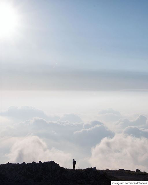 Above a sea of clouds...... theglobewanderer  blue  clouds  red ... (Bâroûk, Mont-Liban, Lebanon)