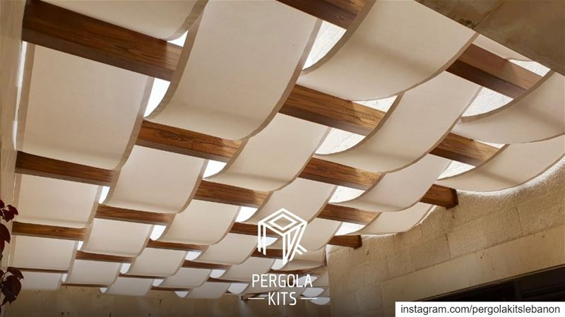 Attached Wooden Pergola with Wavy Fabric Roofing!  PergolaKitsLebanon in... (Hemlâya, Mont-Liban, Lebanon)