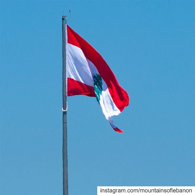 Today just loving the Lebanon Flag flapping high over a Blue Summer Sky...... (Beirut, Lebanon)