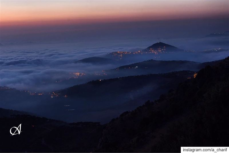 Mist over south sunset  mist  sky  cloud  fog  lights  nature  landscape... (Jezzîne, Al Janub, Lebanon)