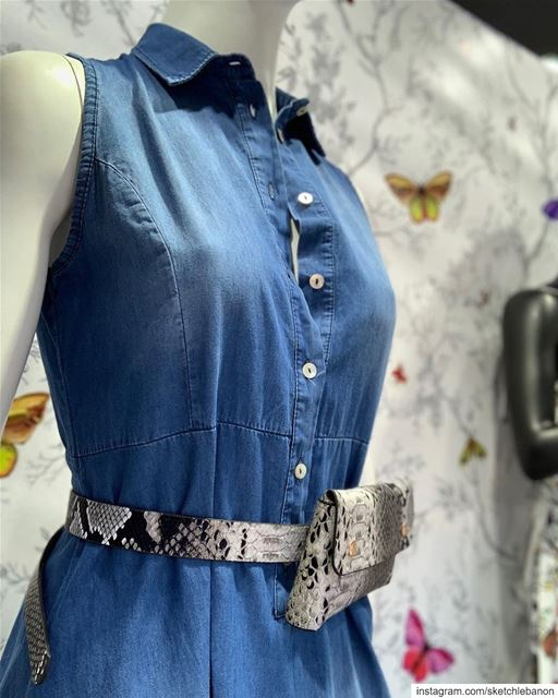 Denim jumpsuit and snake print bag that is worn as a belt around the waist... (El Mtaïleb, Mont-Liban, Lebanon)