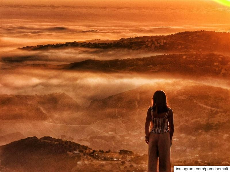 ... lost between the  clouds, the  fierysunset and the  mountains...Some... (Baskinta, Lebanon)