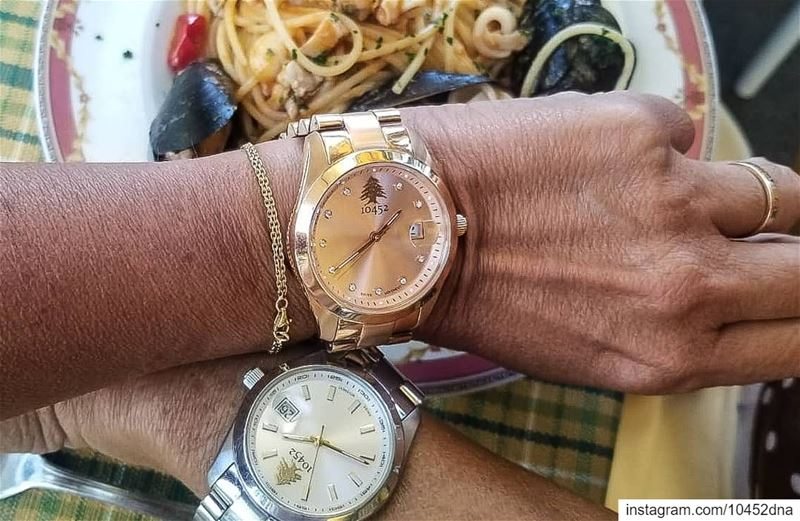 lunch  time in  italy with 2  10452dna  watches at the same table. ... (San Remo, Italy)
