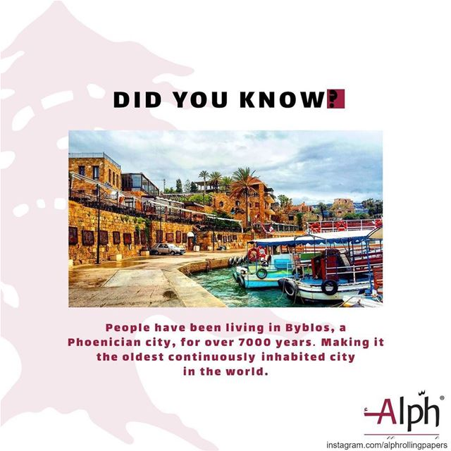 Byblos is the oldest continuously inhabited city in the world. alph ...