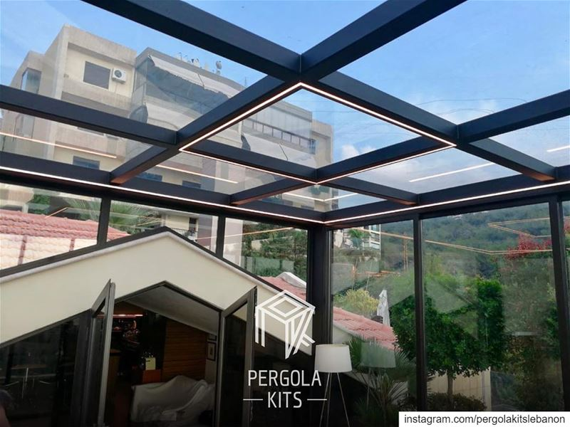Strip Lights in Steel Sunroom Design.  PergolaKitsLebanon in Bsalim📍... (Bsalim, Mont-Liban, Lebanon)