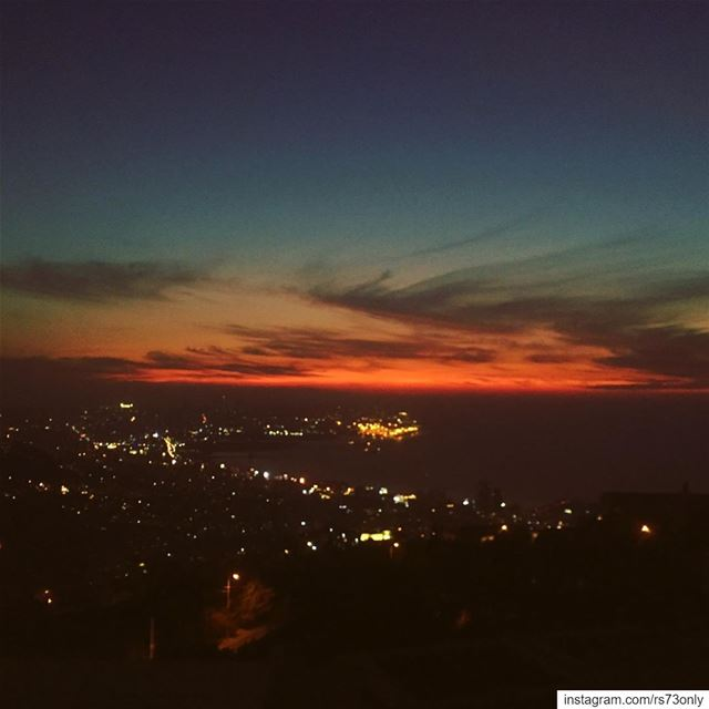 Another  sunset over  beirut  city  lights  skyline  red   orange  hues ...