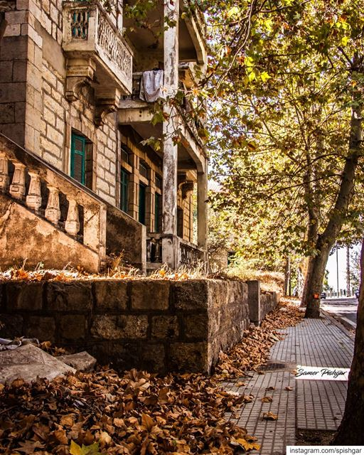 The falling leaves.. the golden rays on the streets, and an old mansion...... (Sawfar, Mont-Liban, Lebanon)