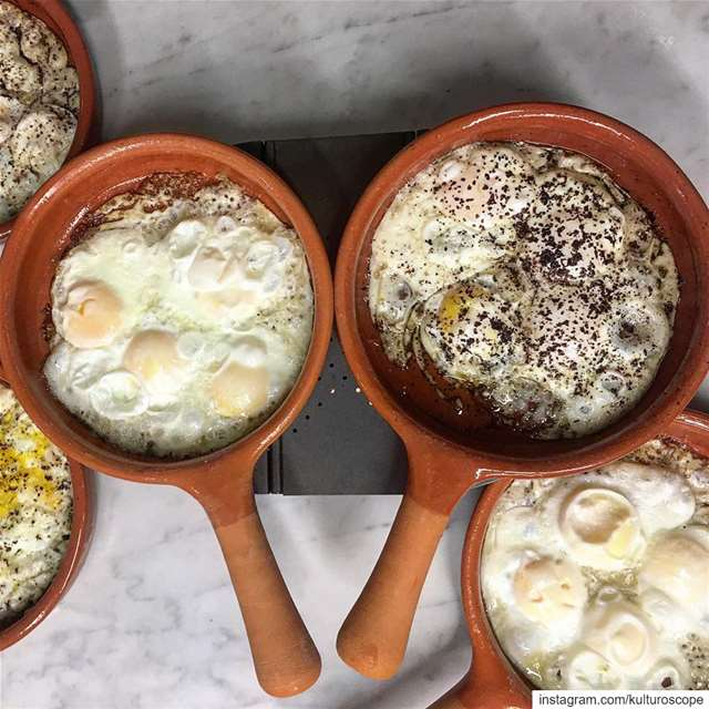 "Best eggs are made in an authentic ""fakhara"" (lebanese pottery). Put a... (Ashghalouna)"