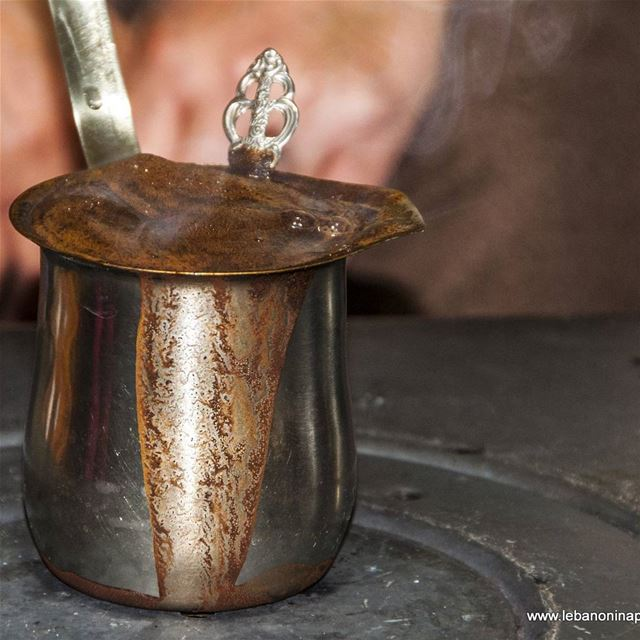 Can you smell it? Turkish coffee made the Lebanese way just at dew... (Yaroun - South Lebanon)