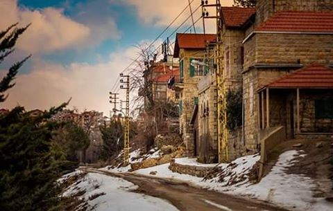 Awe Inspiring Snow Old Lebanese Town Village Houses Brick Snow Snowy Sky Interior Design Ideas Skatsoteloinfo