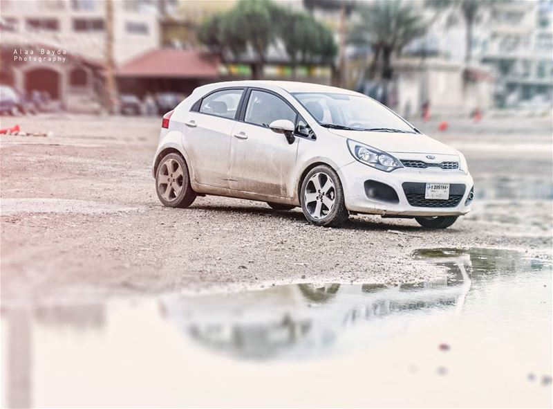 kia rio kiario korean car dirtycar white lebanon reflection supercar...