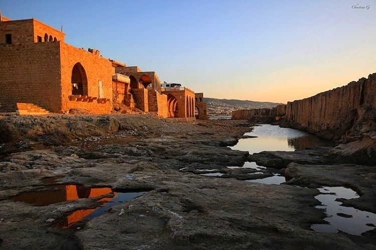 a7labaladbil3alam  goldenhour  sunset  blue  photo  love  sky  water ... (Phoenicien Wall)