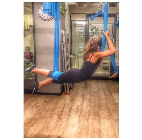 Why walk when u can fly 😊Aerial yoga @mondayfitness  beirut  lebanon.....