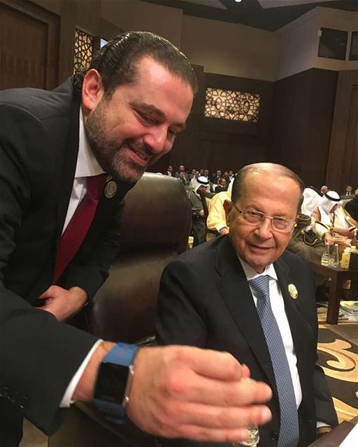 resident of the Lebanese Republic General Michel Aoun @lbpresidency with the #Lebanese PM @saadhariri