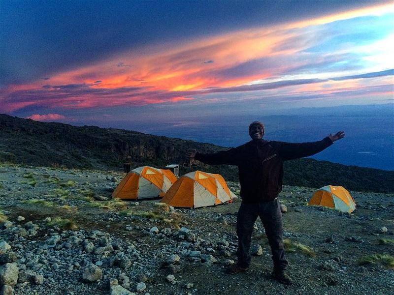Cosmic  Sunset on our arrival to Karanga camp 4040m with our head guide... (Mount Kilimanjaro)