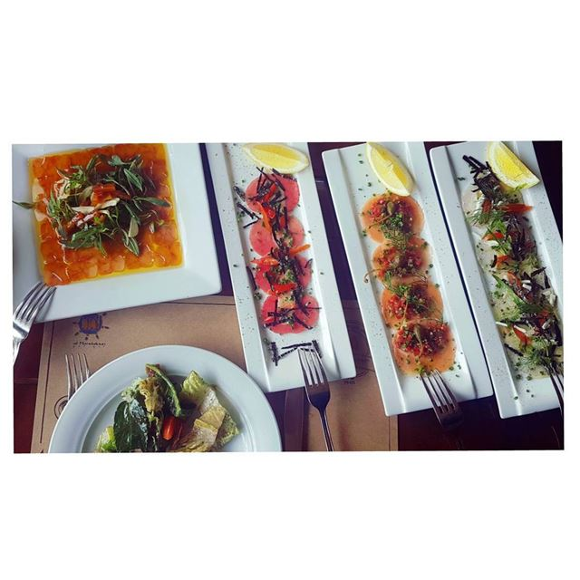 ....فواحشCarpaccio salmon/tuna/sea bass and batrakh 👌--- almandaloun... (Al Mandaloun Sur Mer)