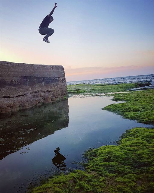 tb  sour  beach  jump  southlebanon  sunset  water  reflection  fly  ... (Tyre, Lebanon)