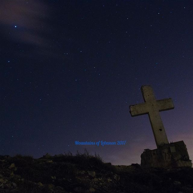 The Lyrids Meteor shower observed April 22-23 from near the Laqlouq Cross... (El Laqloûq, Mont-Liban, Lebanon)