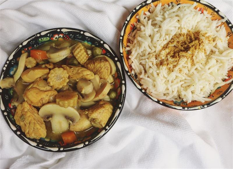Chicken and so much vegetables curry  in light coconut cream with the...
