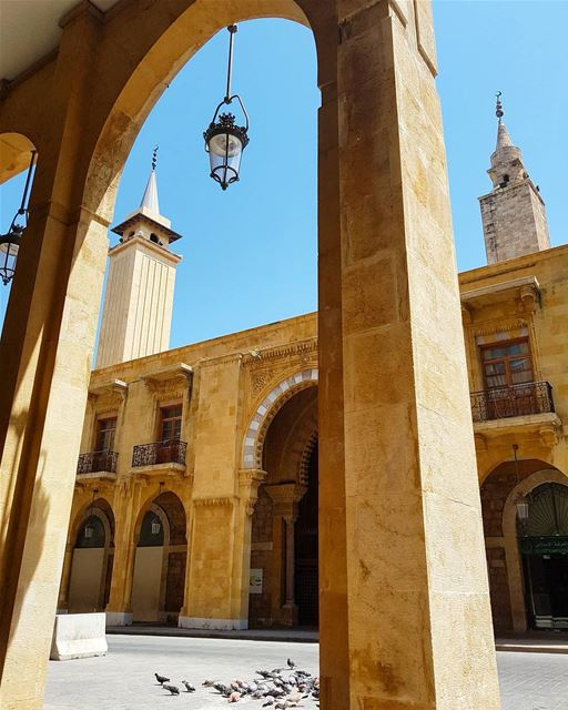 The Grand Omari Mosque is seen here through the limestones arcades. It was... (Al Omari Mosque)