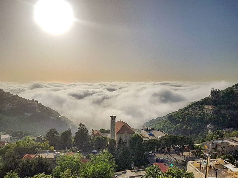 Because someone we love is in  Heaven 💙.. sun  fog  clouds  nature ... (Ghosta-Harissa)