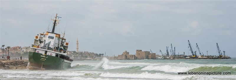 Nabil J stuck on the beach of Saida and Saida Castle in the Background