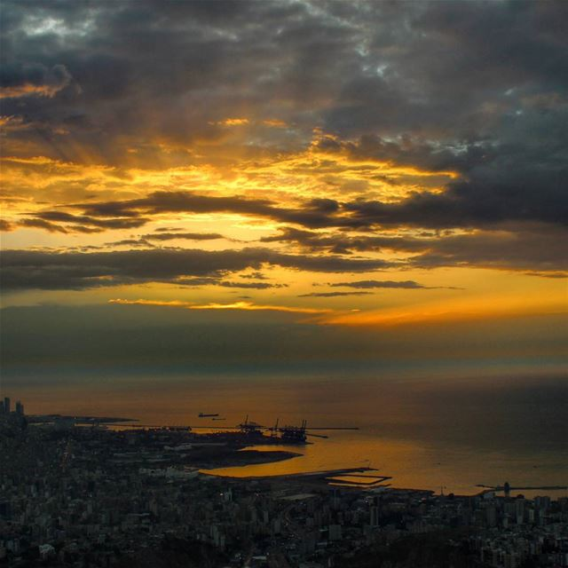 So Our sun's setting away is, at the other side,  the sea closest and... (Port of Beirut)