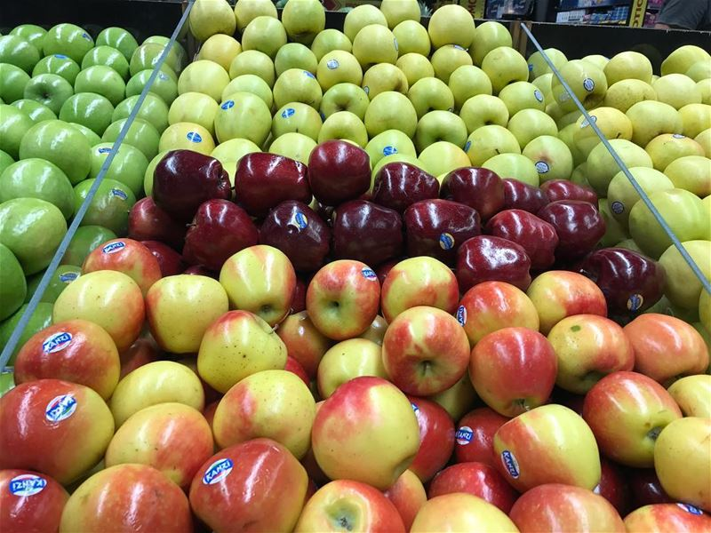 Fresh glossy apples 🍎 🍏🍎🍏🍎 apples  red  green  yellow  redapples ... (The Spot Choueifat)