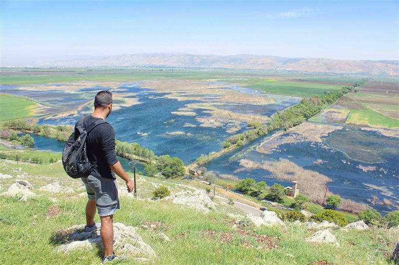 كوكب عمّيق  tb  ammiq  bekaa  valley  lake  green  mountains  lebanon ... (`Ammiq, Béqaa, Lebanon)