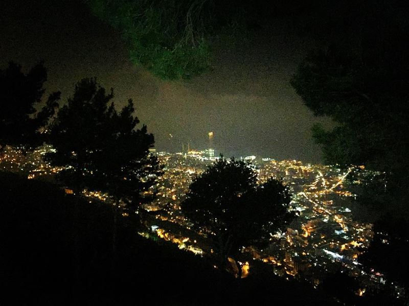 nature  night  view  dark  lights  black  trees  sea  bay  ocean ... (Our Lady of Lebanon)