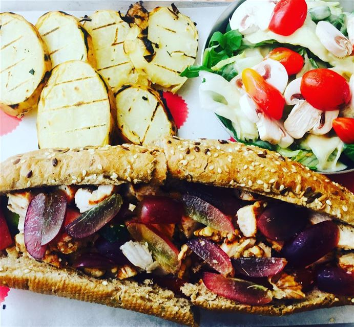 lunch afternoon out weekday foodie sandwich salad grilled chicken grape... (Crepaway)