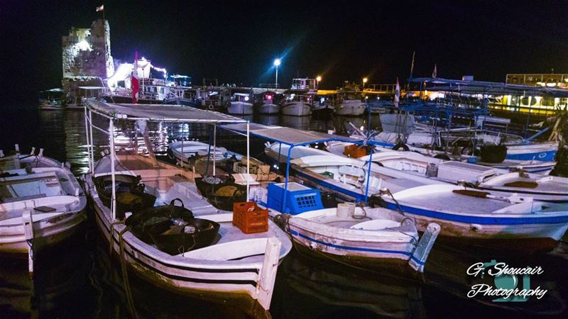 Boats side by side through out the night waiting for another active... (Port Byblos)