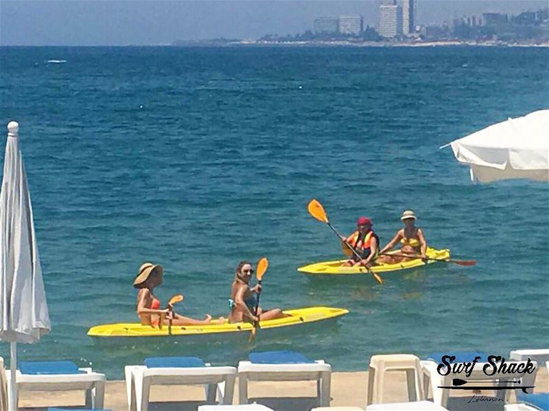 Funny cute mothers enjoying their child free time before the school year... (Surf Shack Lebanon)