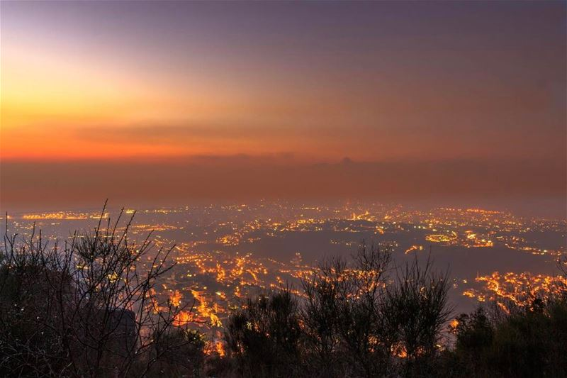 aley sunset sky twilight beirut citylights landscape nature... (`Alayh, Mont-Liban, Lebanon)