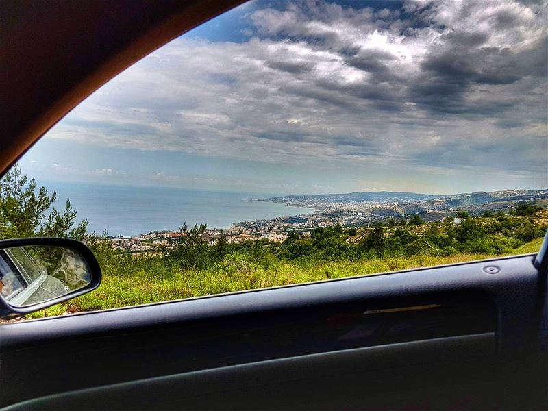 The bay of byblos while driving  bay  byblos  coast  car  drive  window ...