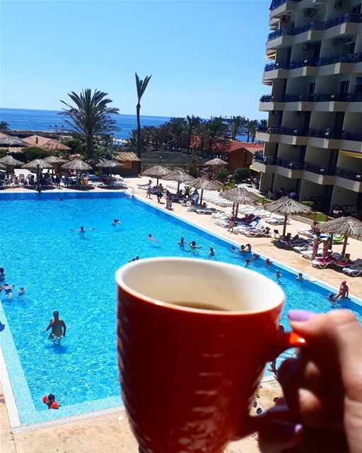 TGIF 🏊  GoodMorning 🌞.. it's  coffeetime ☕  timetosip  coffeeaddict... (Sawary Resort & Hotel-Batroun)