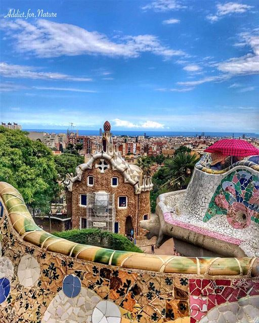 The Park Güell is a public park system composed of gardens and... (Park Güell)