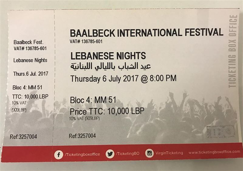 "Here the tickets for tomorrow show  LebaneseNights specialized for ""Baalbec (Baalbeck International Festival)"