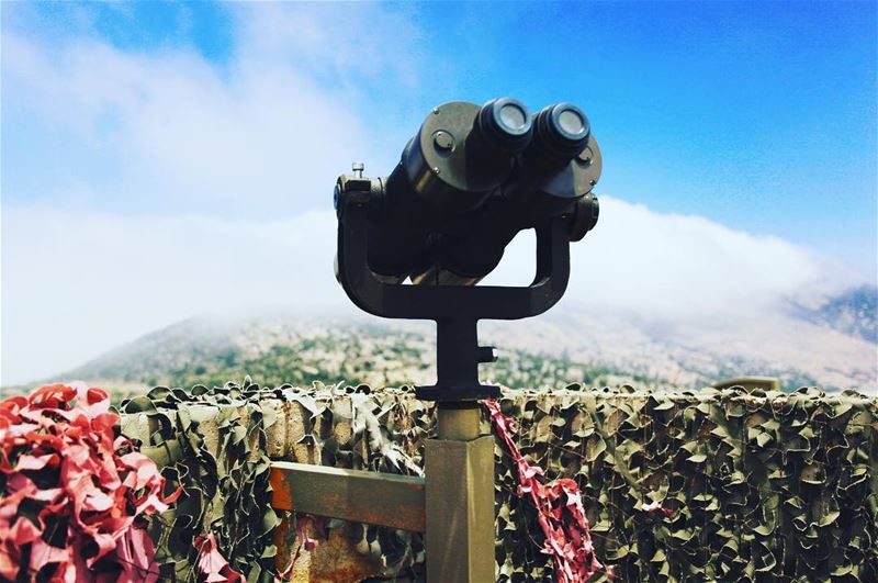 A mock lookout post, complete with military binoculars, offers visitors a... (Nabatîyé)