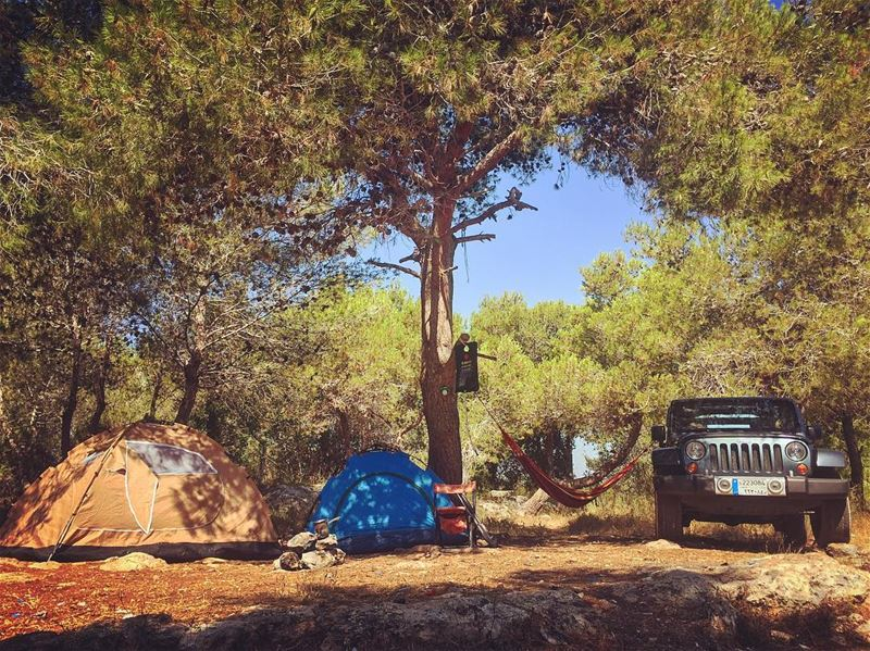 Jeep☑️ hammock☑️ shower☑️ tents☑️... All set ... livelovelebanon...